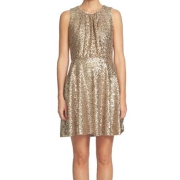 CeCe Dresses & Skirts - CeCe Champagne Women's Sequin Pleated A-Line Dress